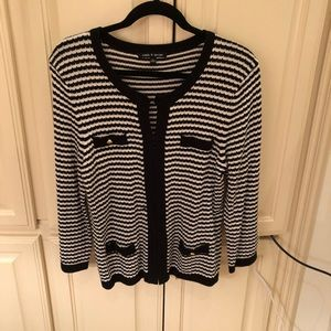 Cable and Gauge Striped Cardigan Sweater Large